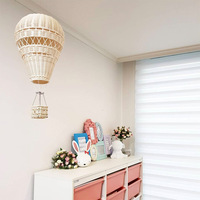 Nordic Style Handmade Kids Children Room Decoration Kindergarten Nursery Rattan Weave Hot Air Balloon Craft Wall Hanging Decor