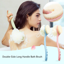 Fur Long-handle Bath Blossom Brush for Adults 2-in-1Rubbing Back Rubbing Body Cleaning Bathroom Supplies