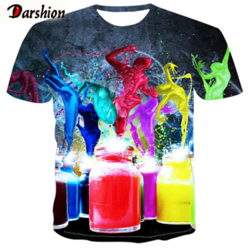 3D Colorful Drinks Print Men T-shirt O-Neck Short Sleeve Tops Cartoon Print T Shirt Fashion Man Tees Party T-shirt Short Sleeves