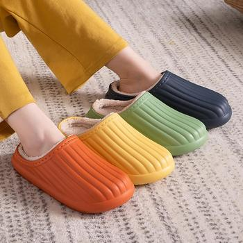 Winter Warm Men's Slippers Solid Women Slippers For Home 2021 Non Slip Shoes Indoor Soft Soles Stripe House Slippers image