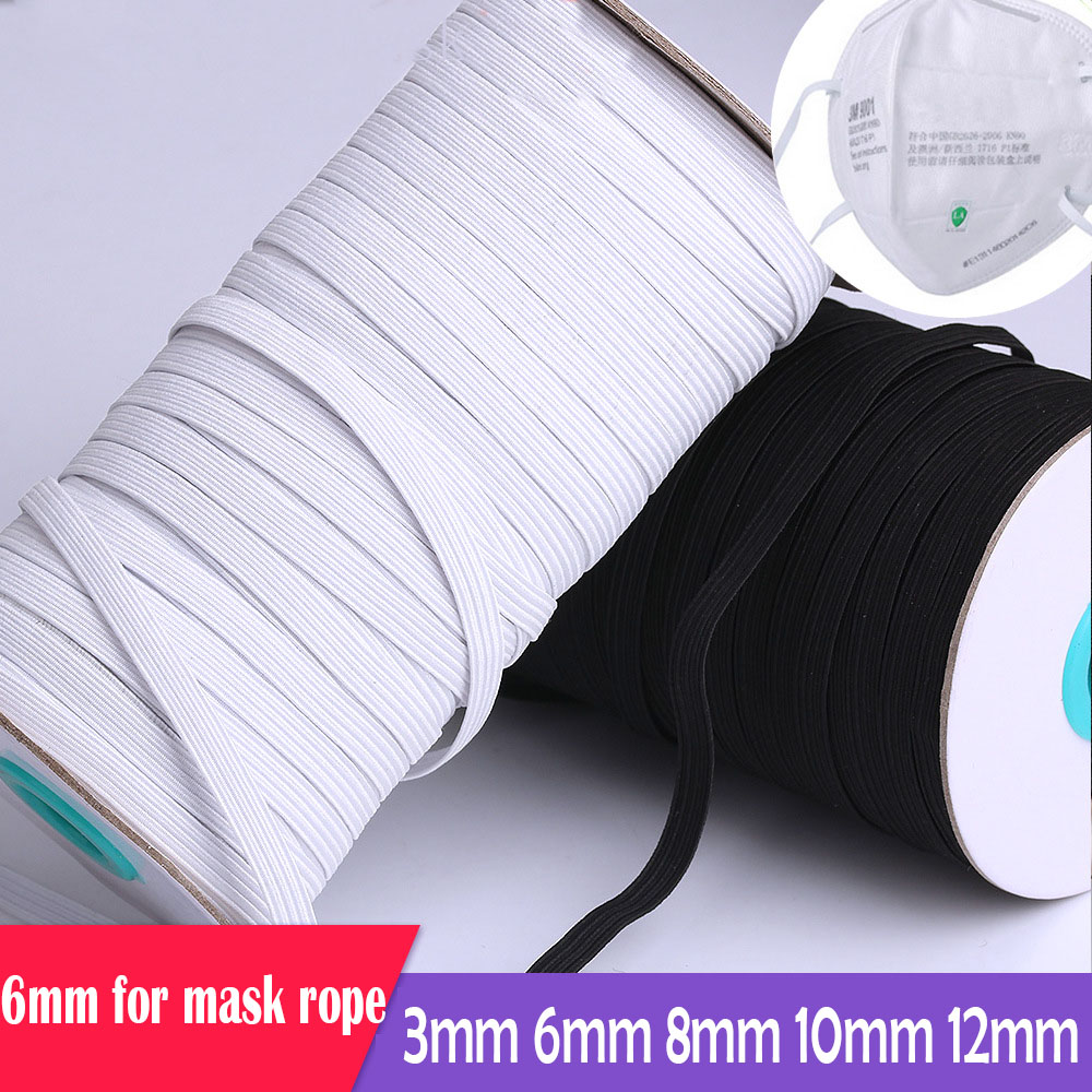 Rubber Bands For Mask 3mm 6mm 8/10/12mm White Black Elastic Band Spandex Belt Trim Sewing Ribbon Clothes Material Diy Mask