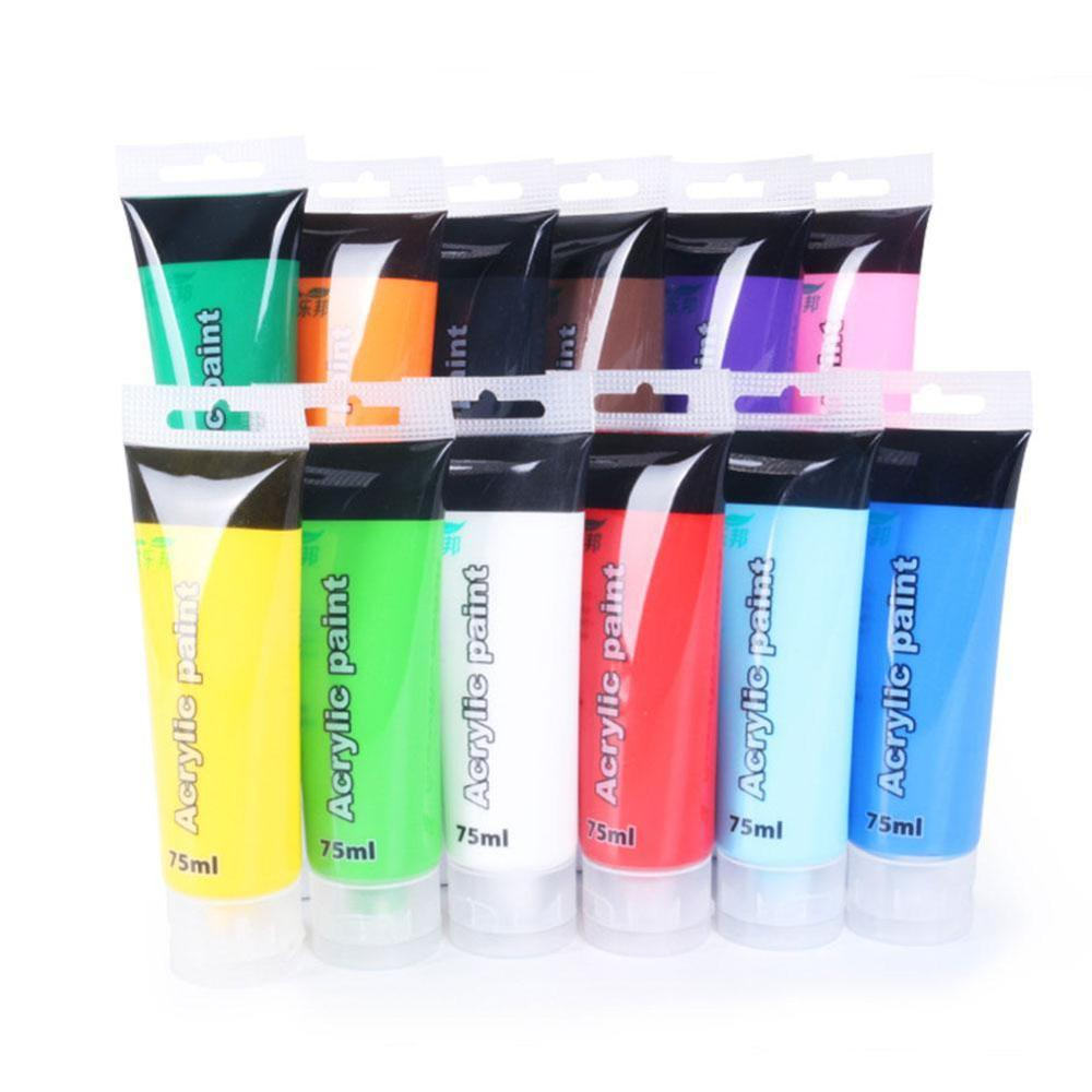 75 ml Acrylic Paint Set Colors Fabric Paint for Clothing Textile nail fiber pigment acrylic paints for painting big Art supplies