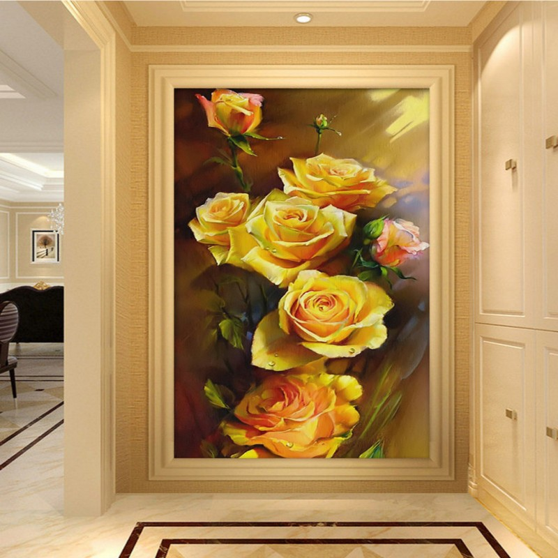 Dropship Custom Photo Wallpaper HD Hand Painted Yellow Rose Oil Painting Entrance Mural Wallpaper Hotel Decoration Background