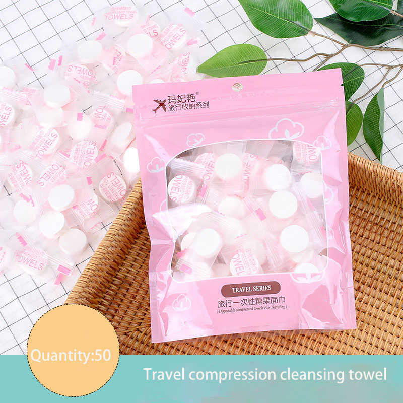 50 Pcs Compressed Wash Towel Travel Disposable Cleansing Towel Non-woven Mesh Wash Towel Cotton Towel