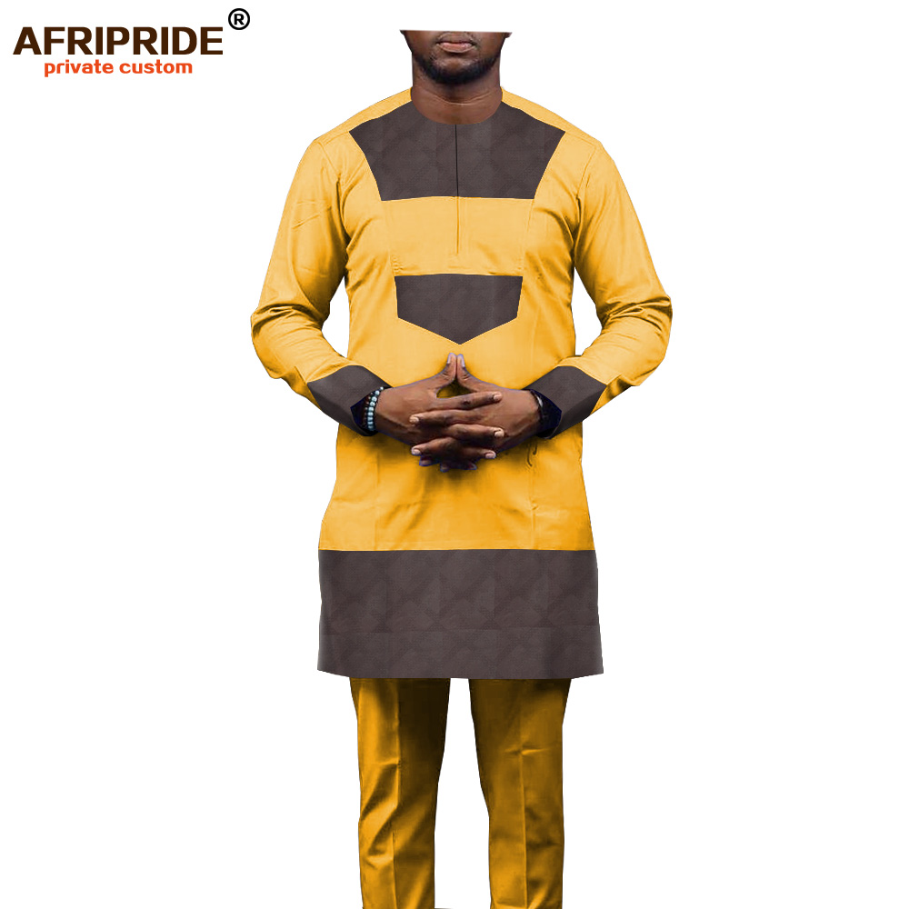 2019 African Men Clothing Dashiki Outwear Tribal Blouse And Ankara Pants 2 Piece Tracksuit Attire Outfit AFRIPRIDE A1916029