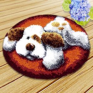 Pasador para bricolaje gancho perro gato dibujo gancho estera cojín Knooppakket Tapijt Smyrna Animal SeriesRug Kits paquete cojín gancho