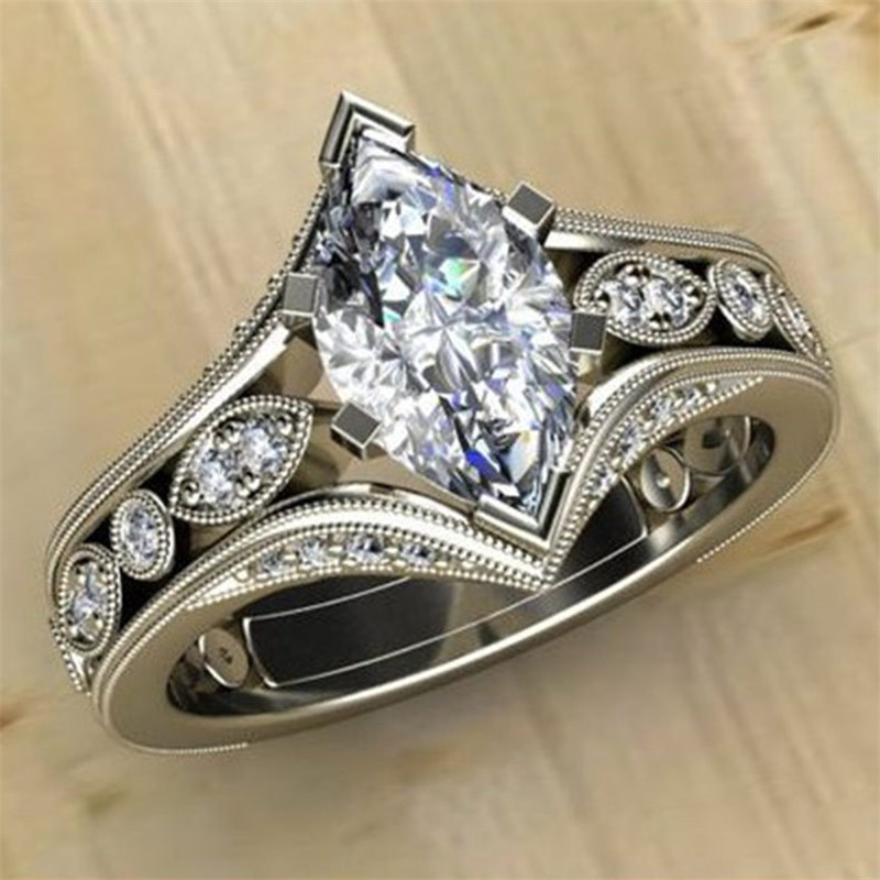 FFLACELL 2020 Fashion Chic AAA Zircon Wedding Rings For Women Jewelry Exquisite Crystal Wedding Engagement Fashion Ring