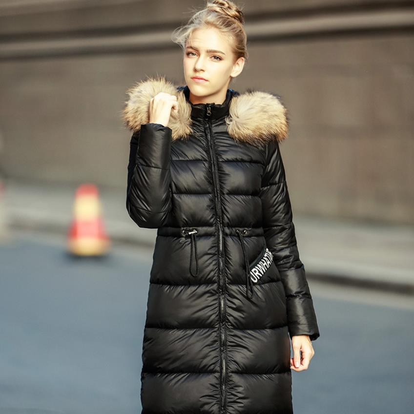 Winter 90% duck   down     coat   female X-long warm faux fur collar hooded duck   down   parkas fashion was thin warm   coat   F237