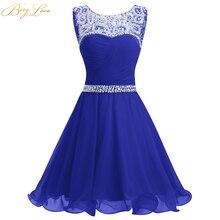 BeryLove Королевское Синее Короткое платье для выпускного вечера Мини шифоновое платье с бисером для выпускного бала короткие платья для выпускного бала