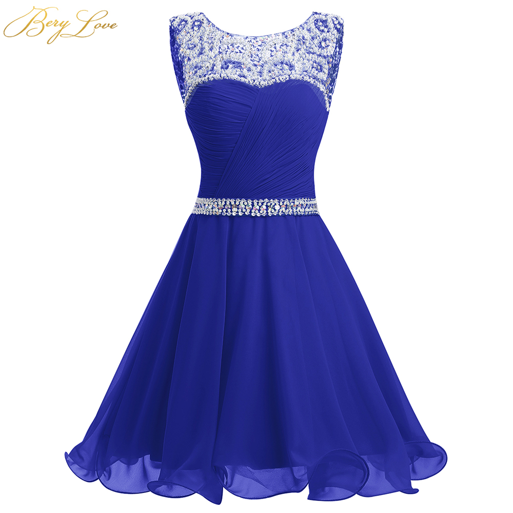 BeryLove Royal Blue Short Homecoming Dress 2019 Mini Beaded Chiffon Homecoming Gowns Short Graduation Dresses Gowns Prom Dresses