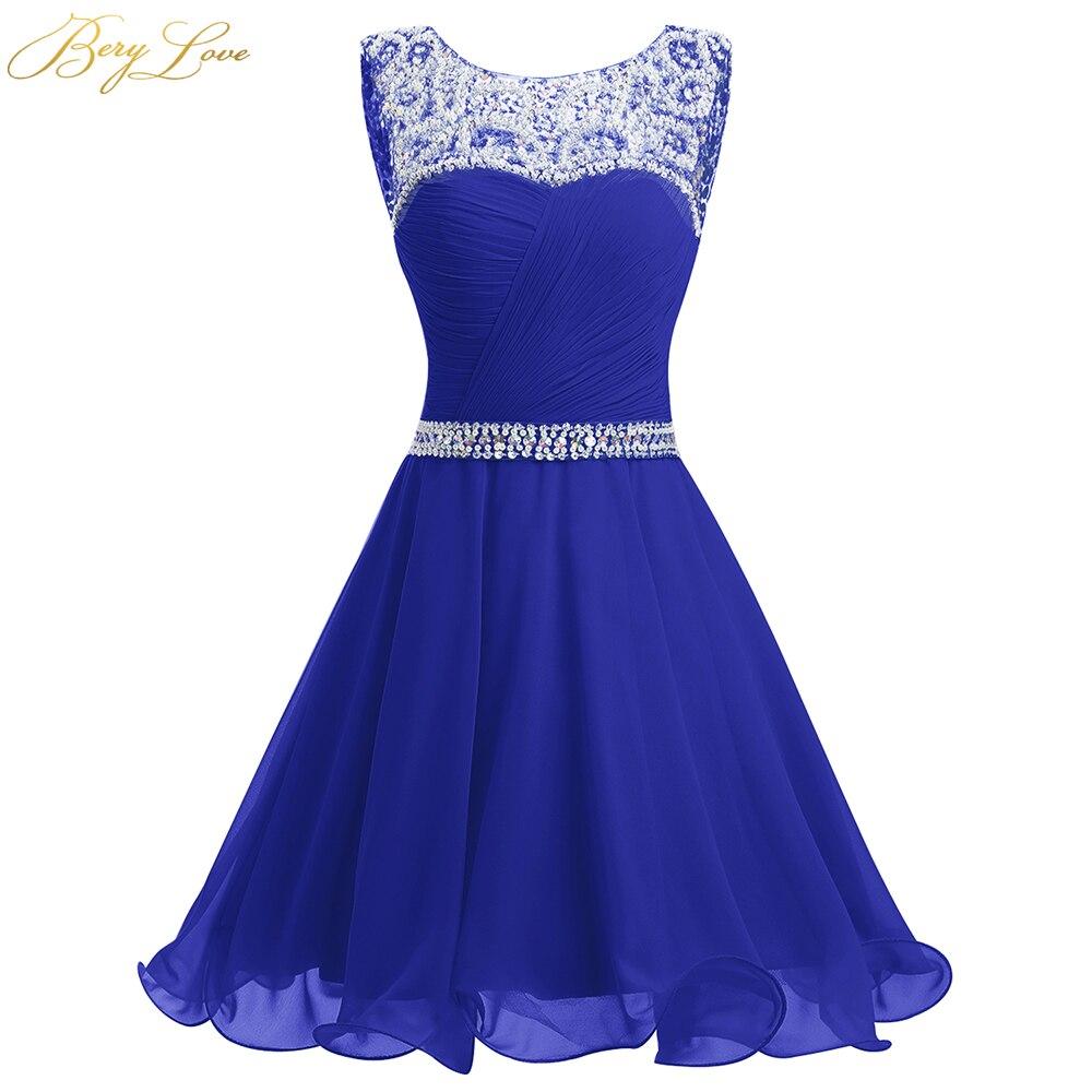 BeryLove bleu Royal robe de retour courte 2019 Mini perlée mousseline de soie robes de retour robes de Graduation courtes robes robes de bal