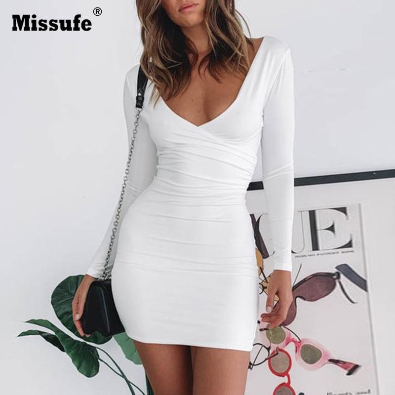 Missufe Wrap V Neck Dress Women Backless Long Sleeve Dresses Mini Ruched Elastic Bodycon Robe Autumn and Winter Vestidos Sheath