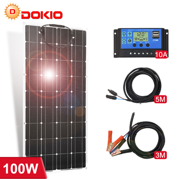 Dokio 12V 100W Flexible Mono Solar Panel For Home 18V Charge Waterproof  China