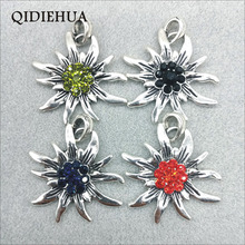 38*45mm Tibetan Silver Alloy Big Flowers Pendant for Necklace Bavarian Multicolor Crystal Edelweiss DIY Jewelry Making
