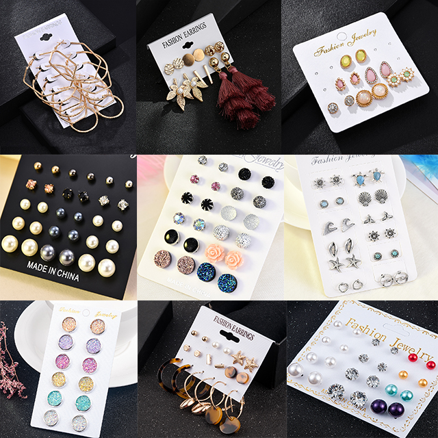 2020 Bohemian Leopard Acrylic Pearl Stud Earrings Set For Women Fashion Geometry Tassel DIY Handmade Earrings Jewelry Gift