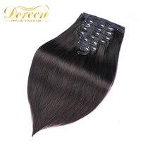 Doreen, 160 г, 200 г, бразильские Прямые Человеческие волосы Remy для наращивания на заколках#1# 1B#2#4#8, набор на всю голову, 10 шт., 16-22