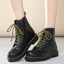 Leather Motorcycle Boots For Martin Boots Female Winter Shoes Platform Ankle Boots For Women Winter Boots Women's Snow Booties lin king womens faux leather ankle boots platform high heel booties for women fashion buckle winter dress shoes martin boots