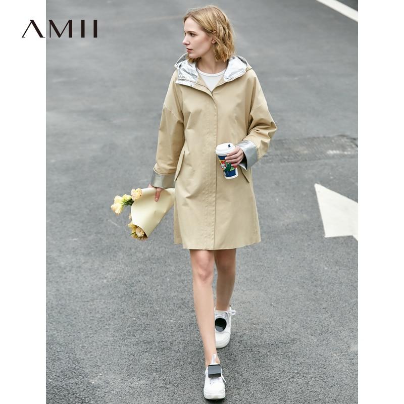 Amii Minimalist Hooded Trench Coat Spring Women Solid Pocket Loose Female Long Jackets 11940033
