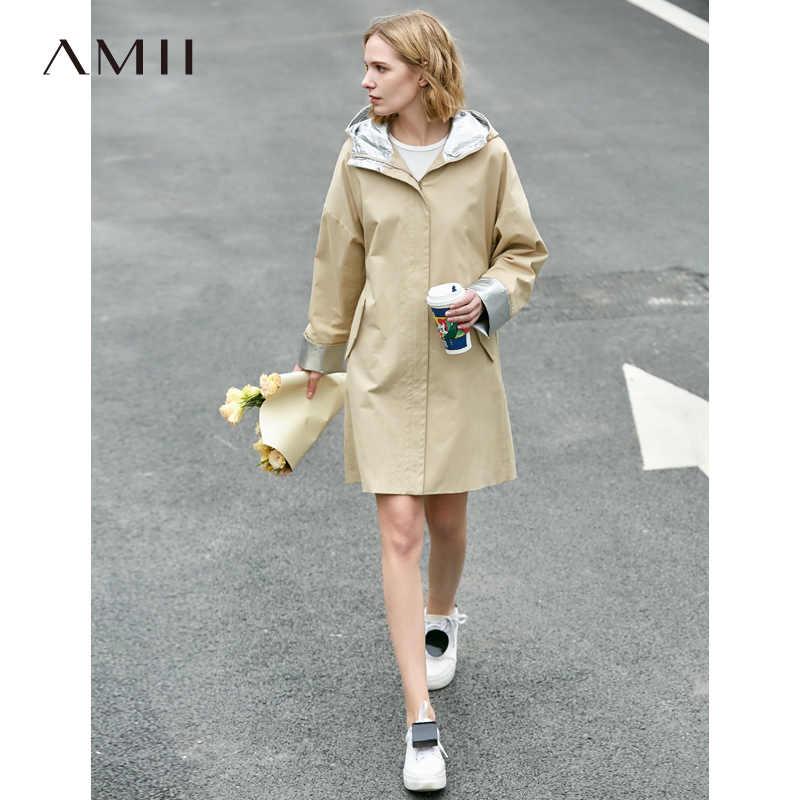 Amii Minimalist kapşonlu trençkot bahar kadınlar katı cep gevşek kadın uzun ceketler 11940033