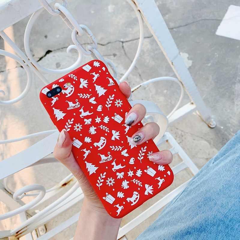 クリスマス赤マット漫画かわいいケース iphone 11 プロマックス 7 8 6 s プラス xs max x xr ケースソフトシリコンオリジナル鹿カバー Tpu