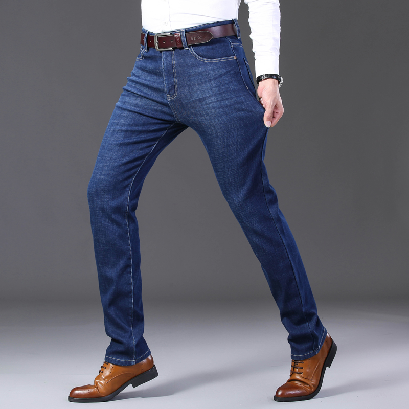 Image 2 - 2019 Mens Autumn Winter New Warm Fleece Lined Jeans Stretch  Casual Straight Thick Denim Flannel Jeans Soft Pant TrousersJeans   -