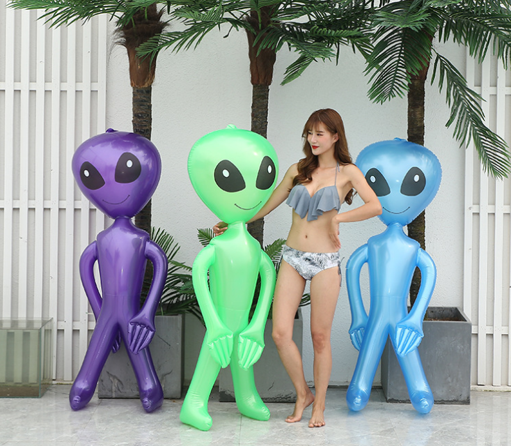 90cm / 170cm PVC Alien Inflatable Green Doll Adult Child Toy Halloween Horror Christmas Birthday Party Props