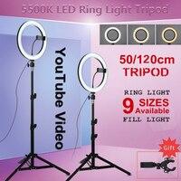 Universal W/Stativ LED Ring Licht Video Licht Lampe Dimmbare Fotografie Beleuchtung Schönheit Tragbare Foto Sudio Drei Geschwindigkeit stehen LED-Flächenleuchten    -