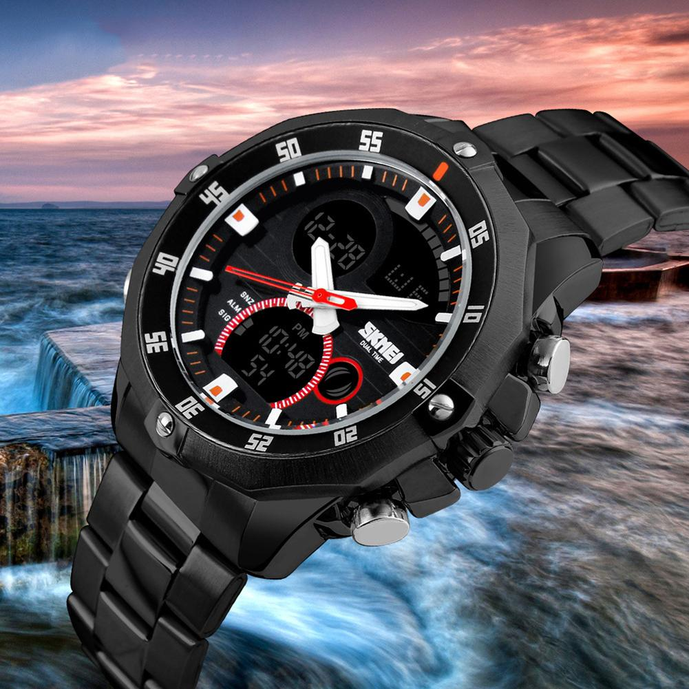 Multifunctional Stainless Steel Band Quartz Analog Waterproof Men Wrist Watch Mas-culino Fashion Men's Watch Large Dial Military