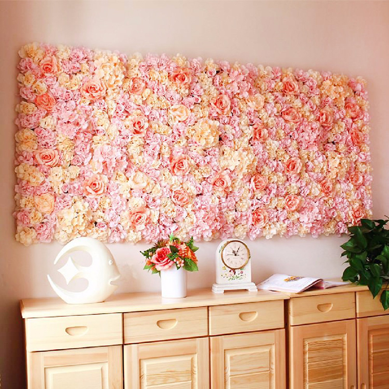 40x60cm Silk Rose Flower Wall Wedding Decoration Backdrop Champagne Artificial Flower Flower Wall Romantic Wedding Decor