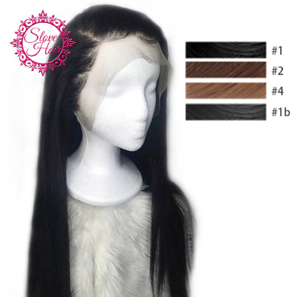 13*4 Lace Front Human Hair Wigs For Women Jet Black #1 #2 #4 Remy Brazilian Straight Wig Slove Hair