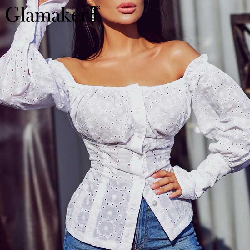 Glamaker Off Shoulder Lantern Sleeve Elegant Blouse Shirt Women Ruffle Office White Blouse Top Spring Summer Sexy Club Shirt New