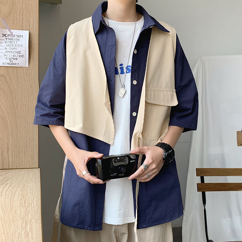 Fake Two-piece Shirt Men's Fashion Solid Color Cotton Casual Tooling Shirt Men Streetwear Loose Short-sleeved Shirt Summer