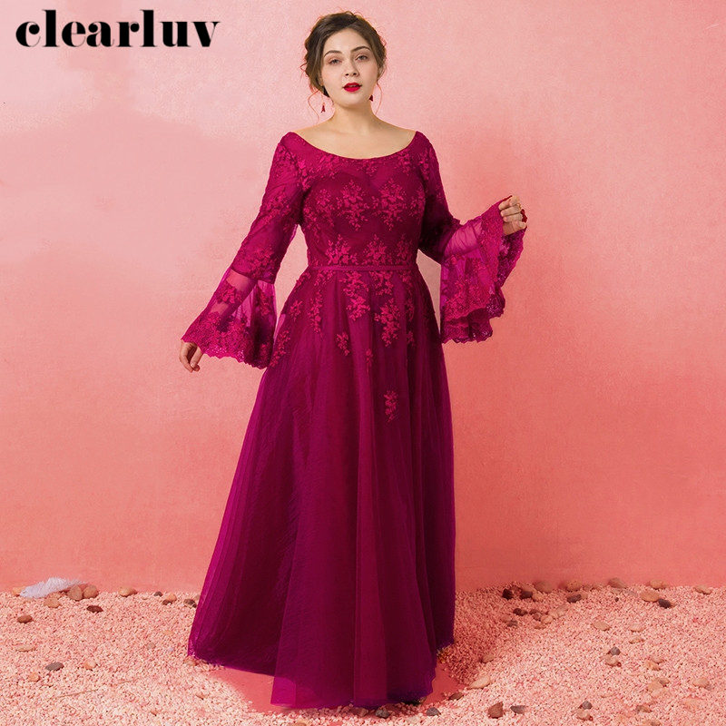 Long Sleeves Evening Dresses Robe De Soiree T466 O-neck Rose Red Women Party Dresses 2019 Plus Size Lace Up Backless Formal Gown