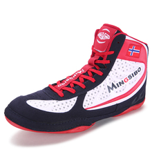 Light Weight Wrestling Shoes Breathable Mesh Boxing Sneakers Mens Professional Boxing Shoes Black Red Athletic Sneakers