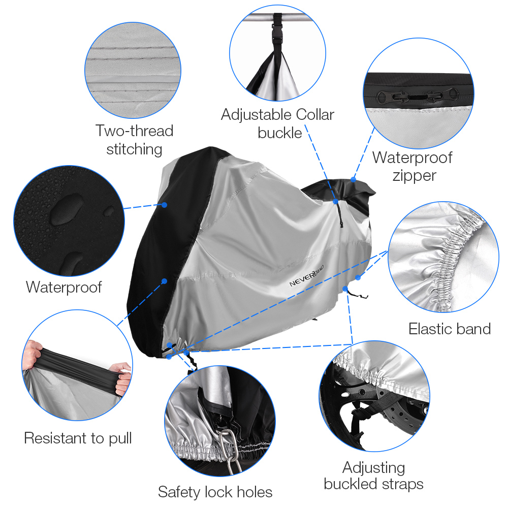Image 3 - 210D Motorcycle Moto Cover Snow Rain Coat UV Protective Bike Scooter Covers Protector For Trunk Bracket Universal Motorcycles D4-in Car Covers from Automobiles & Motorcycles