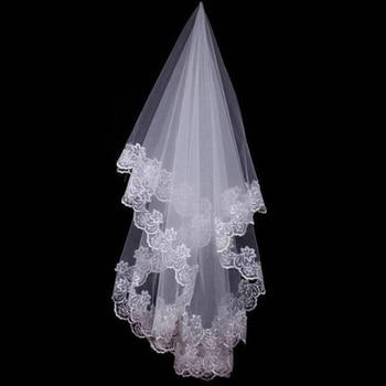 1.5M Hot Wedding Accessories Short Wedding Veil White Ivory One Layer Bridal Veil Appliques Lace Edge No Comb Originally