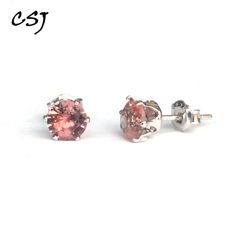 CSJ Diaspore Zultanite Stud Earrings Sterling 925 Silver Fine Jewelry Women Femm Lady Wedding Engagment Party Or Mom Gift Box