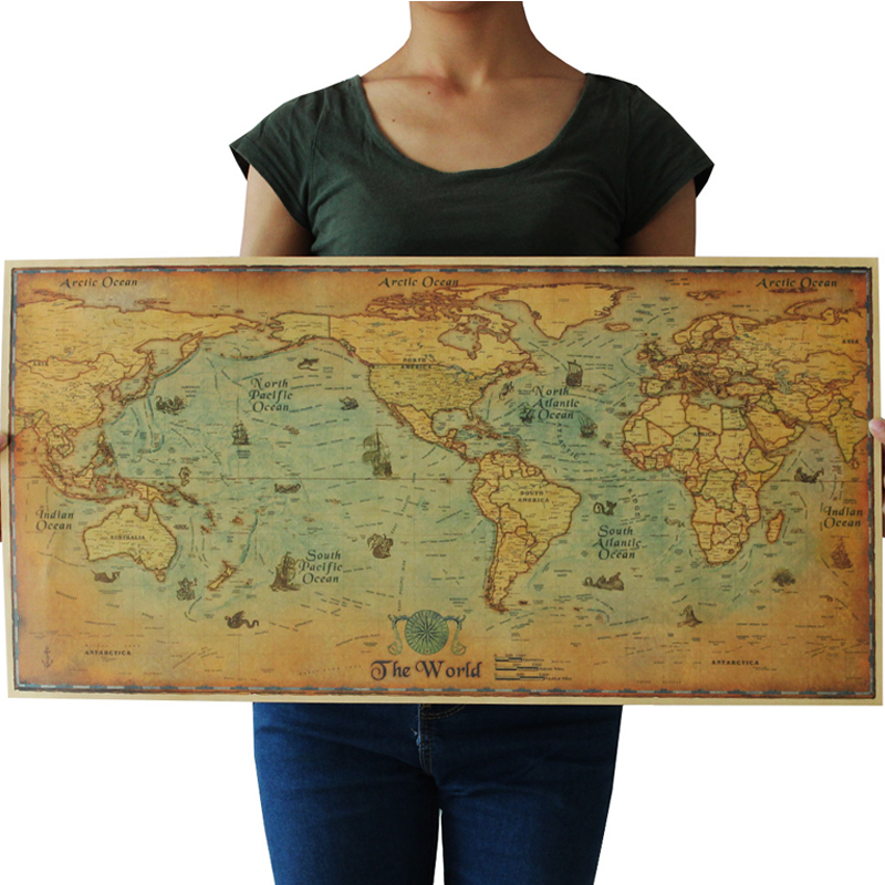 E04 Classic Retro Kraft-Paper Sailing Voyage World Map For School And Office 70.5x35.5cm