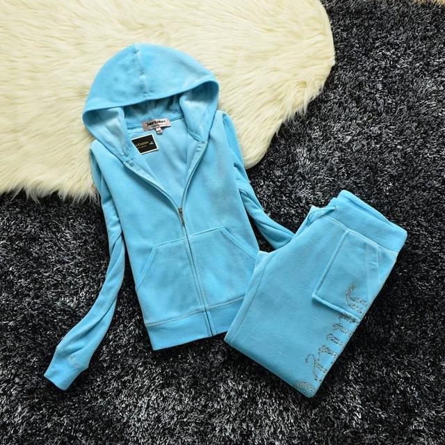 2021 Women's Brand Velvet  Spring/Fall Fabric Tracksuits Velour Suit Hoodies Zipper Sweatshirt And Pants Fat Sister Sportswear 1