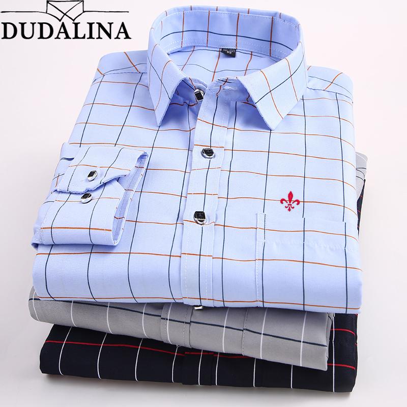 Male 2019 Dudalina Print Embroidery Business Men Shirts Classic Long Sleeve Collar Turndown Plus Size M-5xl