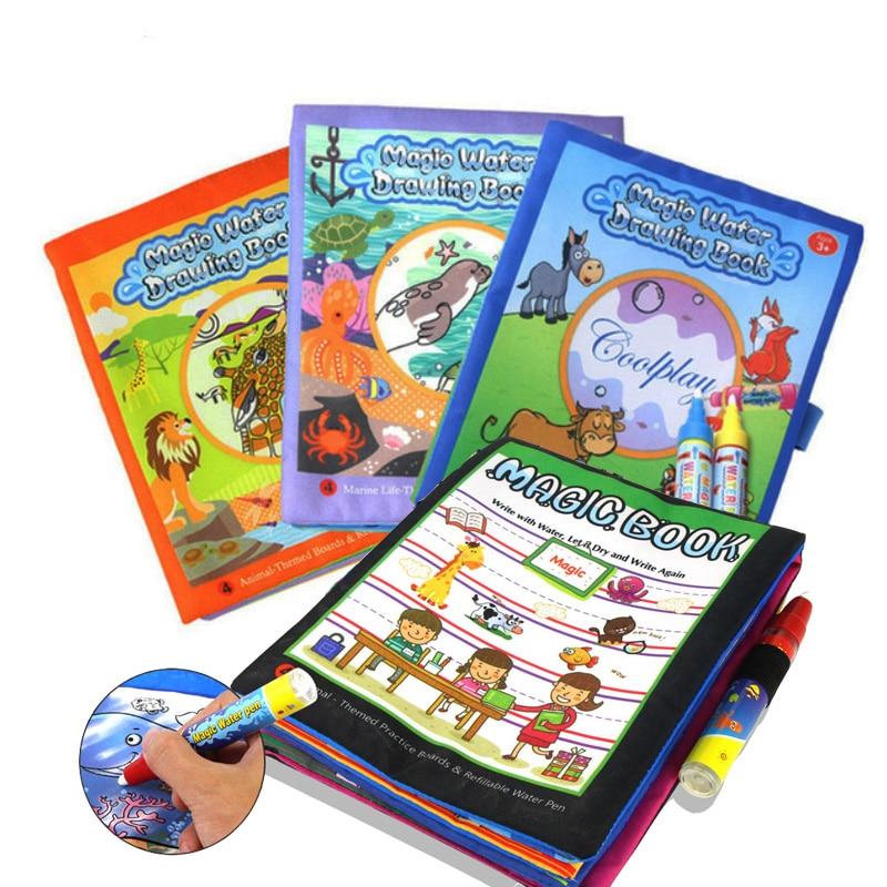 Libro mágico de dibujo de agua para niños de 4 estilos, libro para colorear, Doodle con bolígrafo mágico, tablero para pintar, juguetes de aprendizaje para niños Juguetes para dibujar    - AliExpress