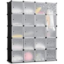 20 Cube Organizer Stackable Plastic Cube Storage Shelves Design Multifunctional Modular Closet Cabinet with Hanging Rod WhiteUS