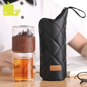 Image 2 - ONEISALL 200ml Glass Water Bottle With Bag High Borosilicate Double Tea Water Bottle Infuser Tumbler Drinkware Smart Bottles