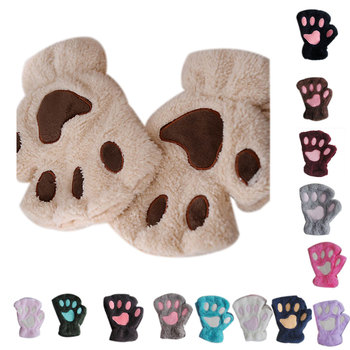 Women Cute Cat Claw Paw Plush Mittens Warm Soft Short  Fluffy Bear Gloves Costume Half Finger Fingerless - discount item  40% OFF Gloves & Mittens