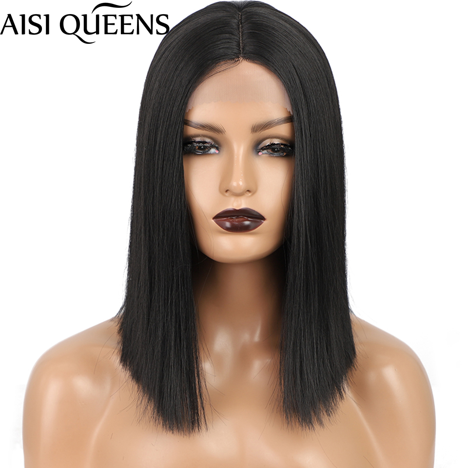 AISI QUEENS Short Black Synthetic Wig 613 Blonde Straght Wig for Women Daily Hair High Temperature Fiber Natural Looking