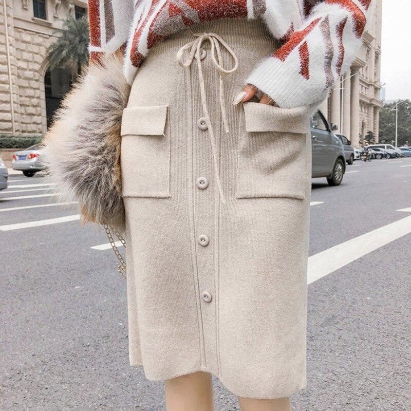 Fashion Women Skirts Cotton High Waist Pocket Skirt Button Tight Ladies Skirts
