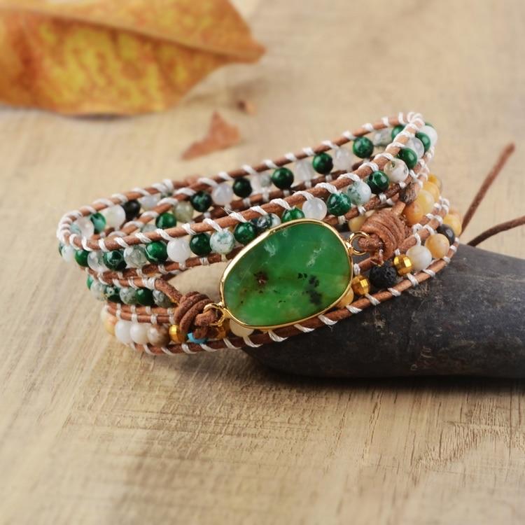 3 vezes pulseira de couro pulseiras verde