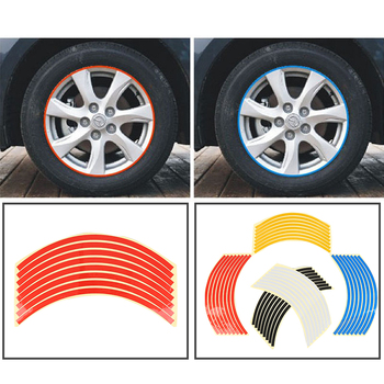 8 Strips Car Tyre Rim Sticker Tire Protection Decor Automobile Rim Wheel Stickers Protector Decors Car-styling Bicycle Stickers image