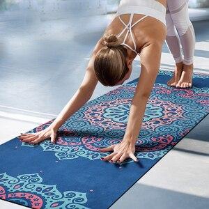 Коврик для йоги из натурального каучука, нескользящий фирменный дизайн, гимнастический коврик с принтом мандалы, складной Удлиненный коври...