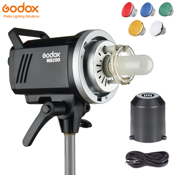 Godox MS200 200W or MS300 300W Studio Strobe GN53 5600K Bowens Mount Monolight Built-in 2.4G Wireless System Lightweight Compact image